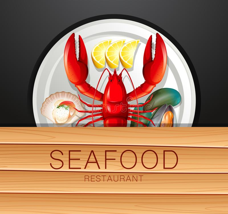 Set of seafood on plate stock illustration