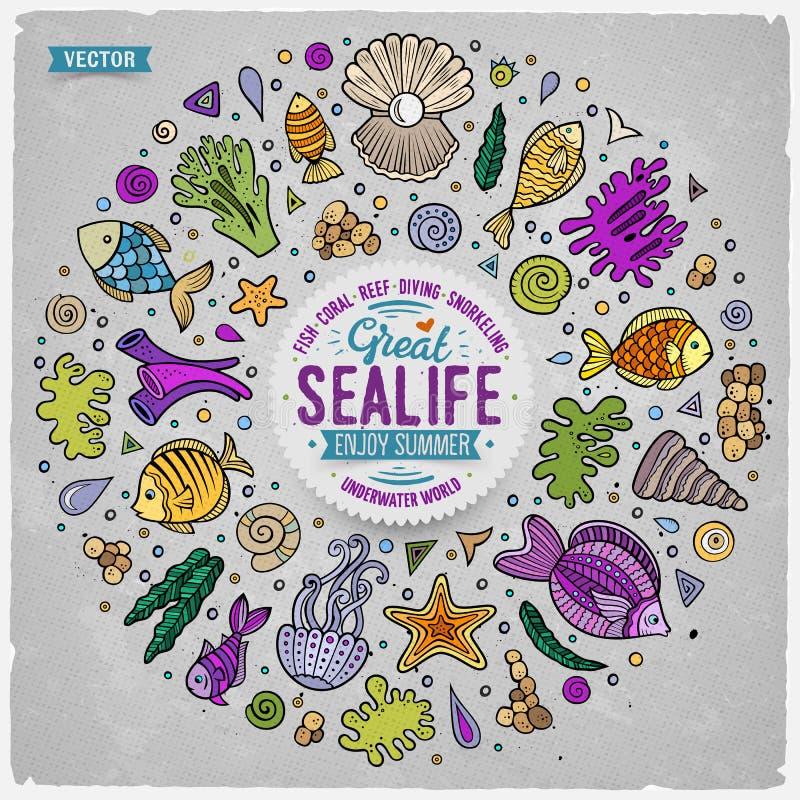 Set Sealife kreskówki doodle protestuje, symbole i rzeczy ilustracji