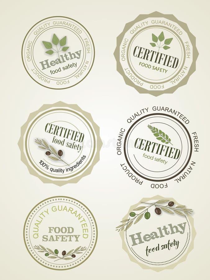 Set of seals, logo food safety, vector royalty free illustration