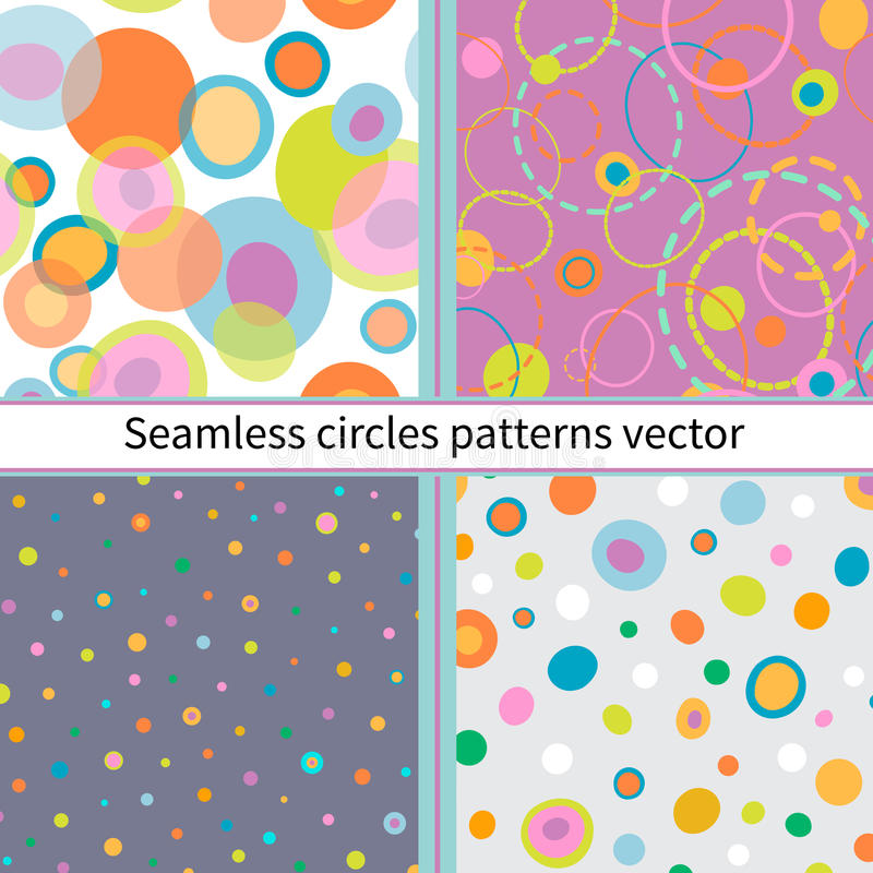 Set of Seamless abstract colors circles. stock illustration