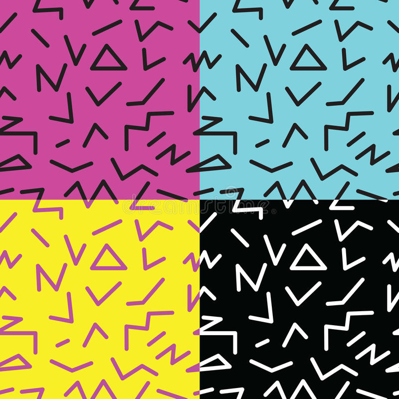 set of seamless abstract geometric pattern in retro memphis style royalty free illustration