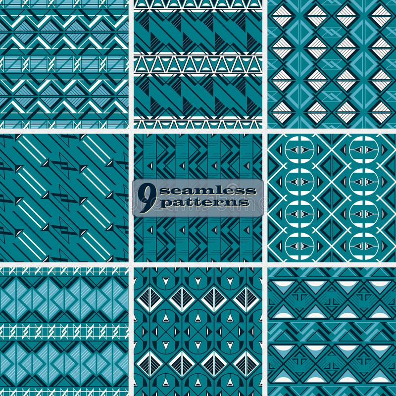 Set of seamless abstract geometric patterns in blue and white co stock illustration