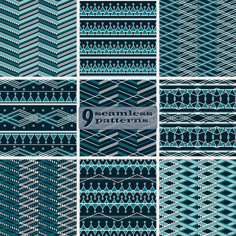 Set of seamless abstract geometric patterns in blue and white co royalty free illustration