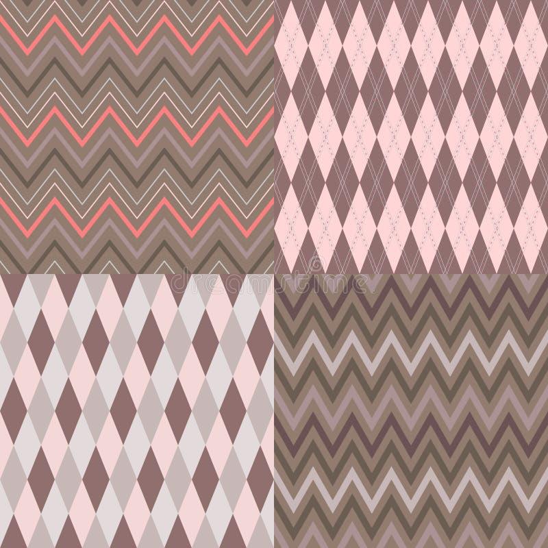Set of seamless argyle and chevron patterns
