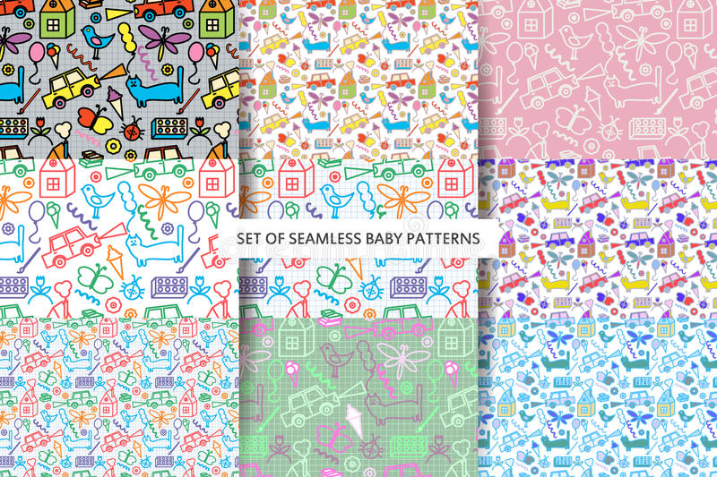 Set seamless Baby patterns. vector illustration