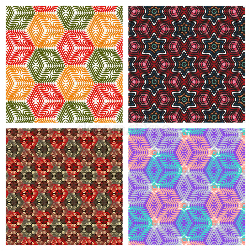 Set of seamless backgrounds with cubes and stars vector illustration