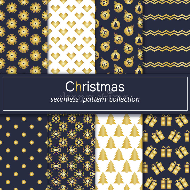 Set. Seamless backgrounds with traditional symbols of Christmas and new year. vector illustration