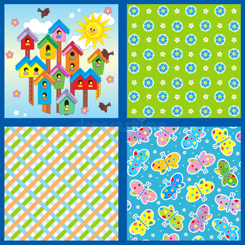 Spring And Summer Seamless Patterns Or Backgrounds Royalty Free Stock Images