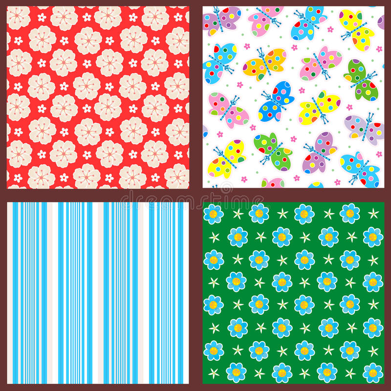 Spring and summer seamless patterns or backgrounds vector illustration