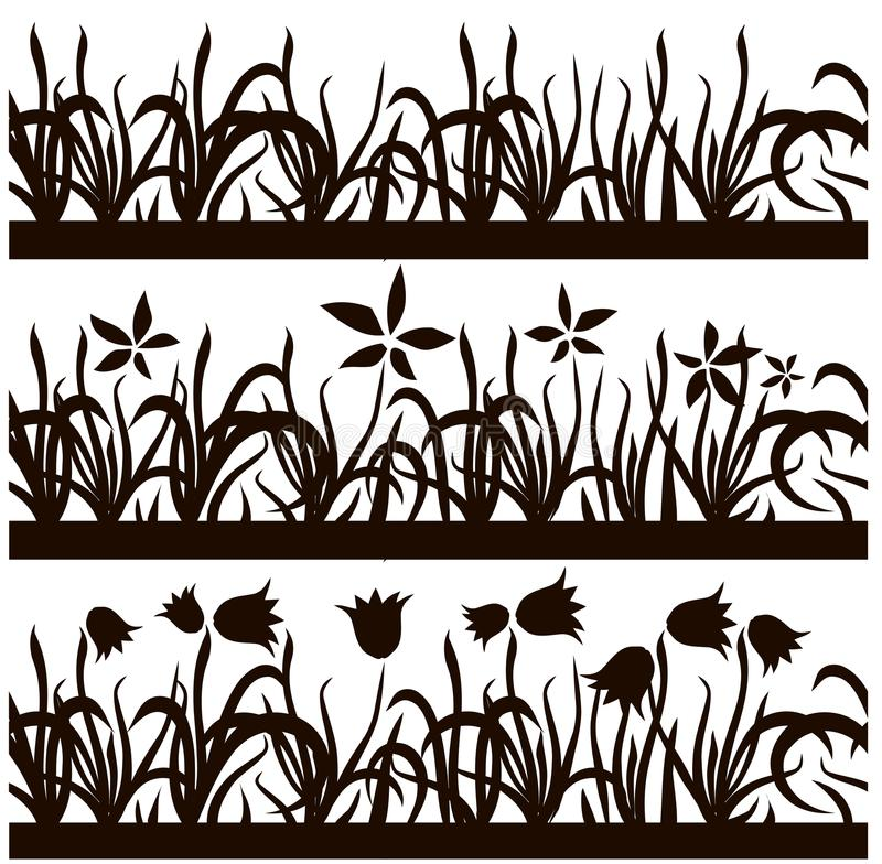 Set of seamless black silhouette grass, flowers pattern on white background, design element stock royalty free illustration