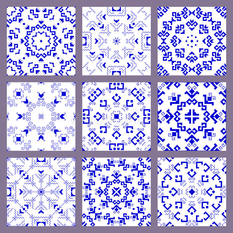 Set of seamless blue pattern on a white background royalty free illustration