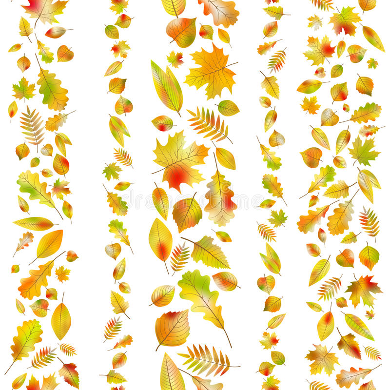 Set of seamless borders from autumn leaves. EPS 10 vector stock illustration
