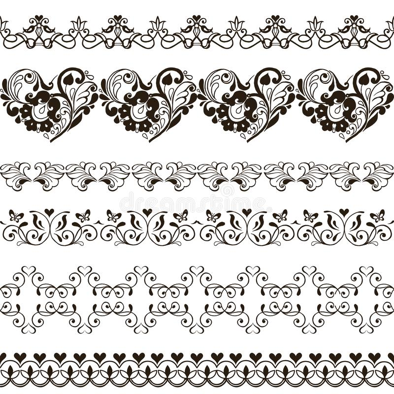 Set of seamless borders with hearts. Henna stock illustration