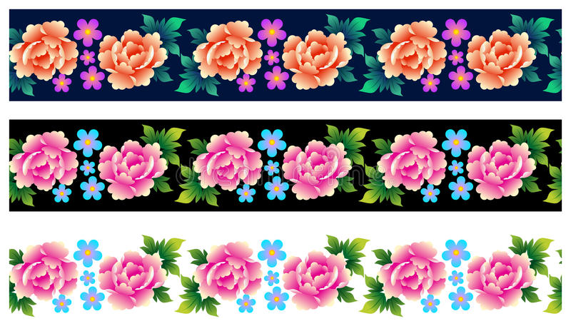 Set of seamless borders with roses. Vector illustration. Eps 10 stock illustration