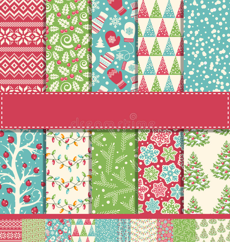 Set of 10 Seamless Bright Fun Christmas Winter Holidays Patterns royalty free stock photo