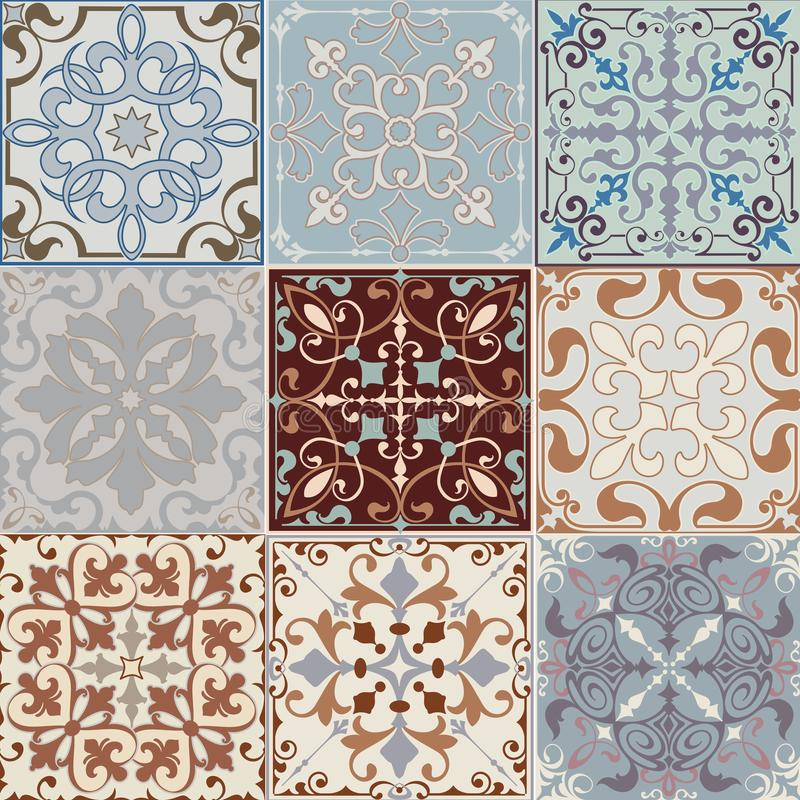 Set of seamless ceramic tiles in blue and beige retro colors with vintage ethnic patterns and floral motifs in the style of a patc stock illustration
