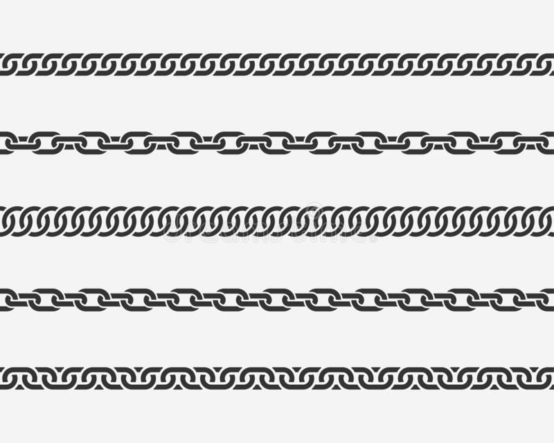 Set seamless chain link. Different chains silhouette black and white isolated on background. royalty free illustration