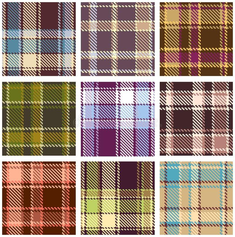 Set Of Seamless Checkered Pattern Stock Photo