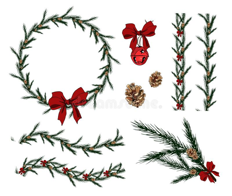 Set of seamless Christmas fir brushes. Round Christmas wreath. Spruce branch with cones,bow and bell. For festive design, vector illustration