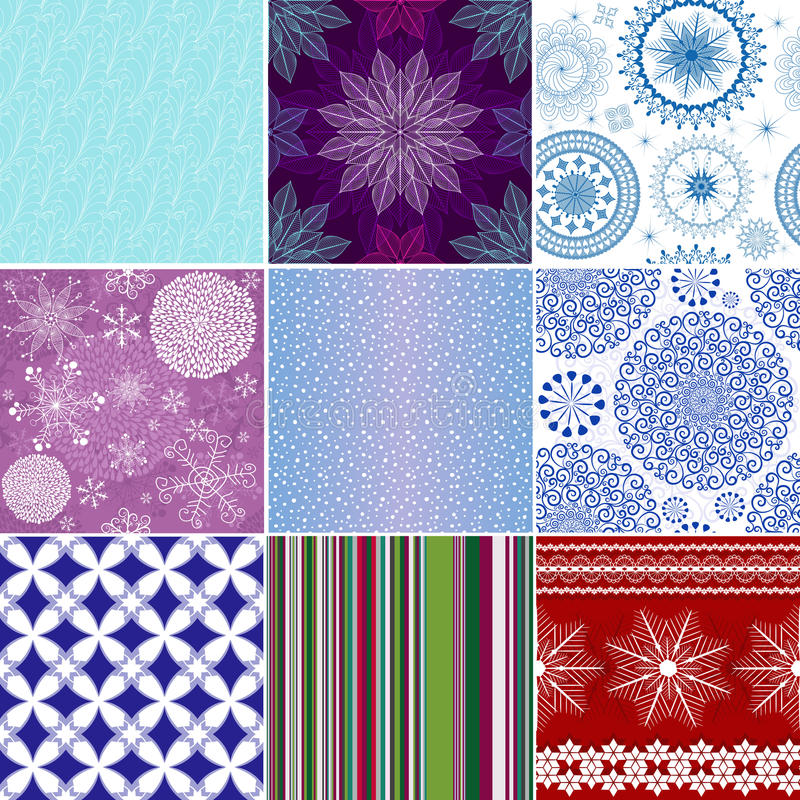 Set seamless christmas patterns vector illustration