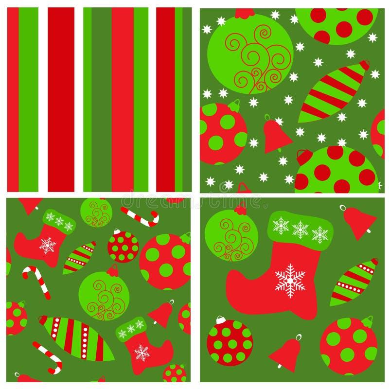 Set of seamless Christmas patterns vector illustration