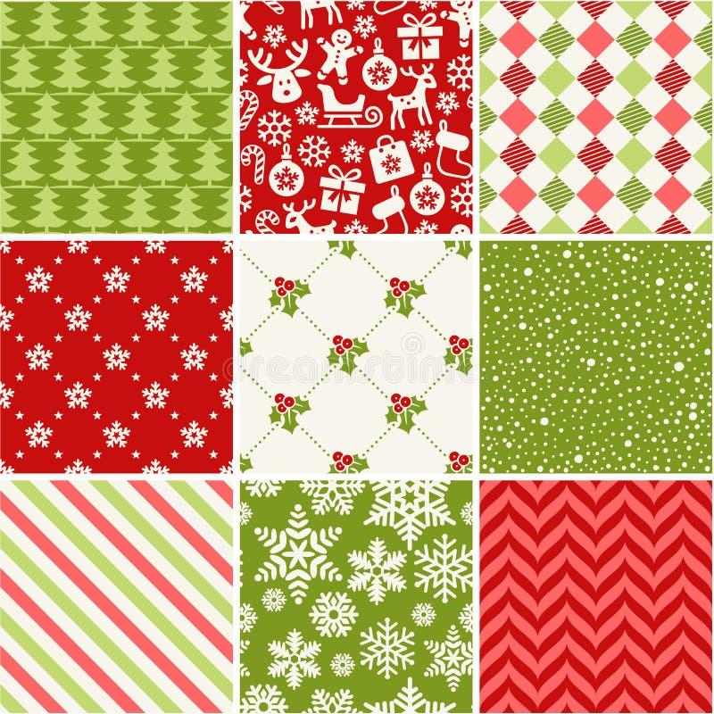 Set of seamless christmas patterns royalty free illustration
