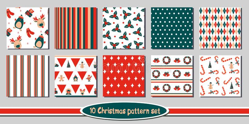 Set of 10 seamless Christmas vector patterns - includes funny bright backgrounds with cute holiday characters, symbols stock illustration