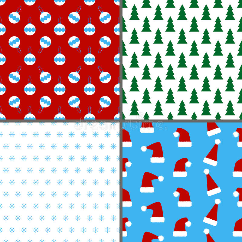 Set of seamless colorful Christmas and New Year patterns vector illustration