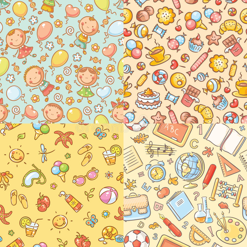 Set of seamless colorful patterns with kids, sweets, summer, school things royalty free illustration