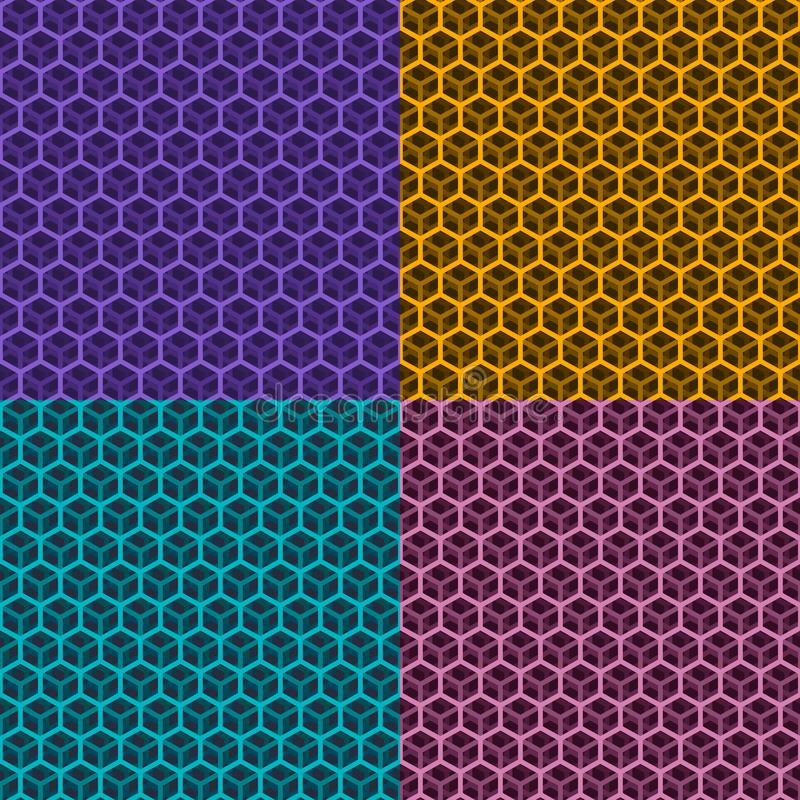 Set of Seamless Cubic Patterns. Set of Seamless Patterns of Transparent Cube, Technological Background, Colorful Cubic Grid, Vector Illustration stock illustration