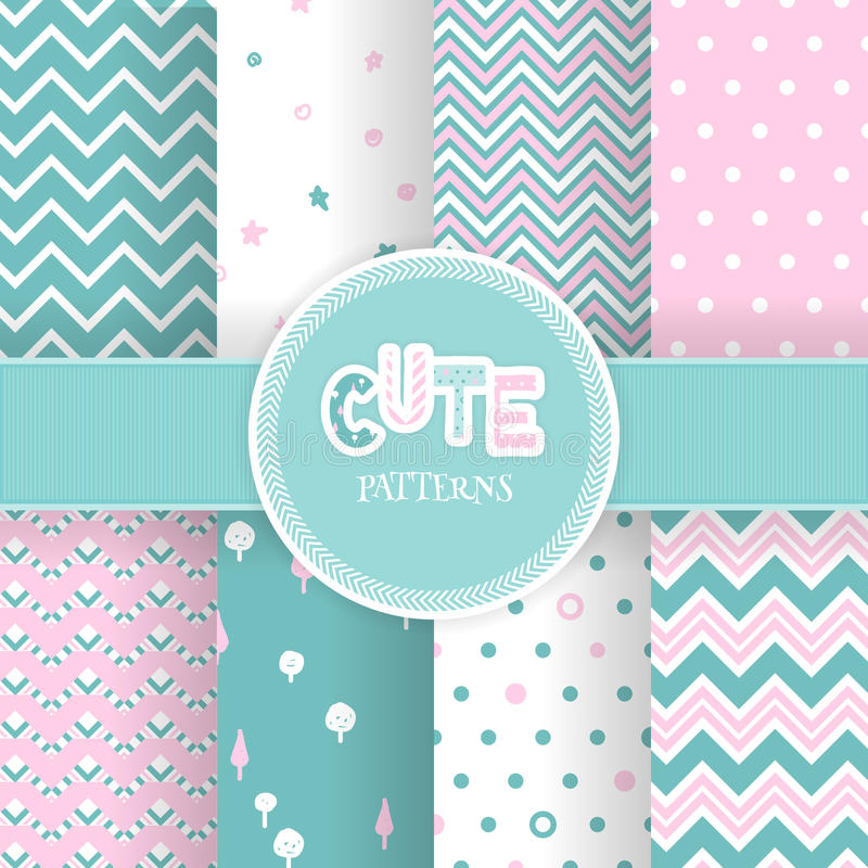 Set with seamless cute geometric patterns royalty free illustration