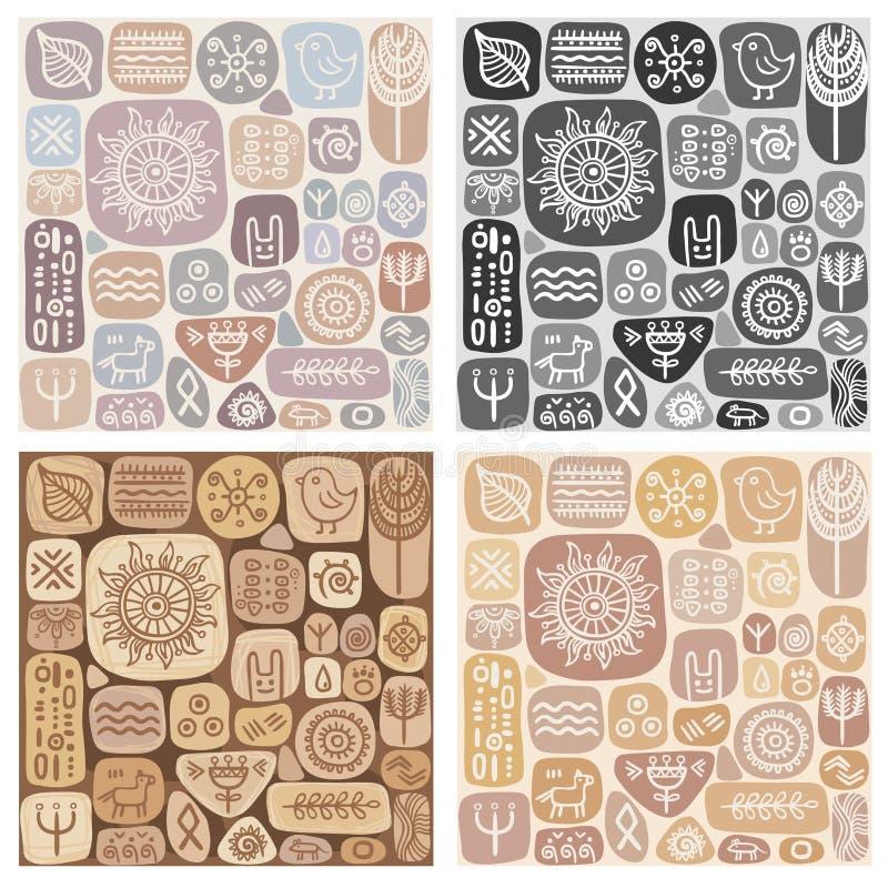 Set of seamless ethnic ornaments vector illustration