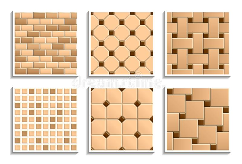 Set of seamless floor and wall tiles textures. Vector repeated patterns of mosaic, subway, brick, hopscotch, octagon, dot stock illustration
