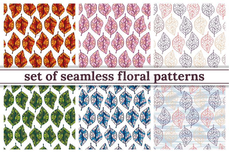 Set of seamless floral backgrounds royalty free illustration