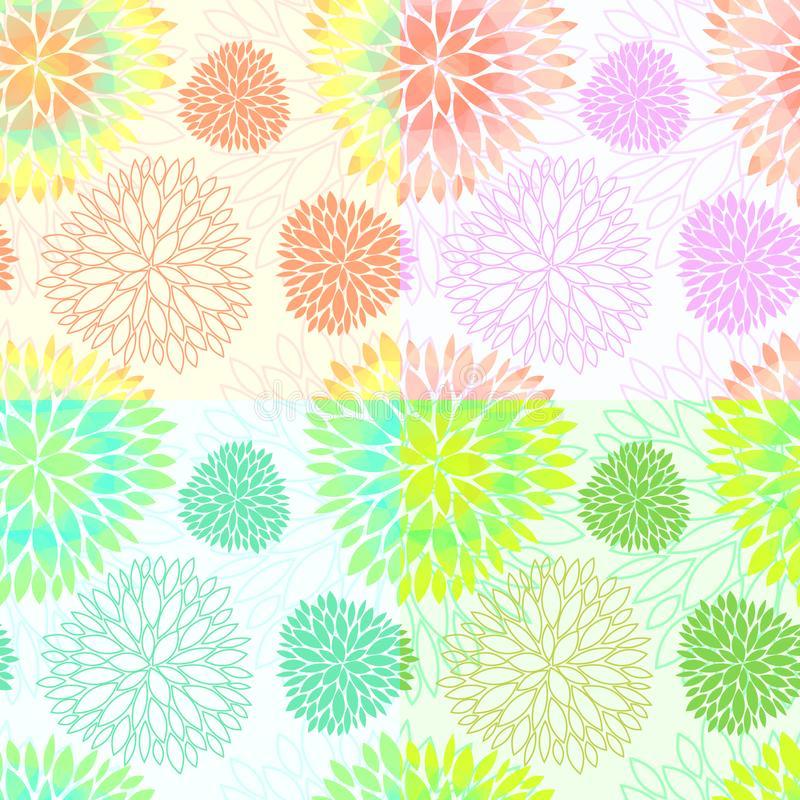 Set of seamless floral blossom patterns vector illustration