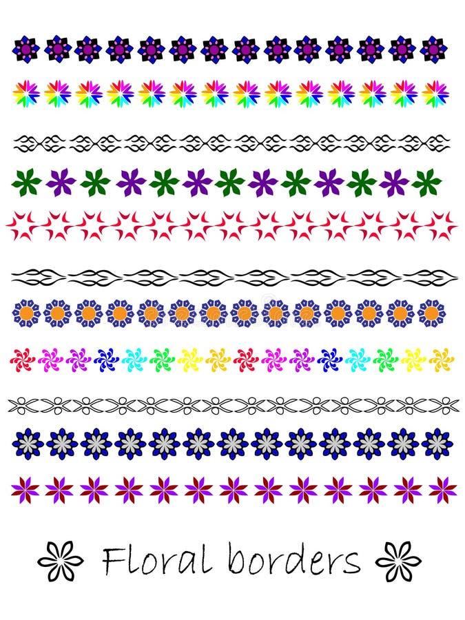 Download Set Seamless Floral Borders Stock Vector - Illustration: 19587000
