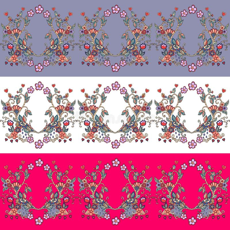 Set of seamless floral borders. Decorative ornament royalty free illustration