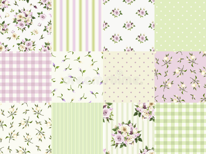 Set of seamless floral and geometric patterns for scrapbooking. Vector illustration. royalty free illustration