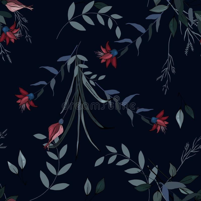 Set of seamless floral ornament for fashion design, fabric print, wallpaper, background, web, textile in vector. Flower pattern stock illustration