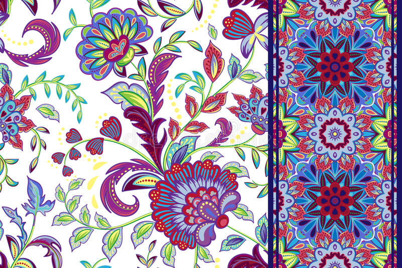 Set of seamless floral pattern and border for design. Hand draw vector Illustration. Seamless background with flowers. royalty free illustration