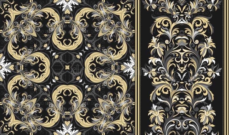 Set of seamless floral pattern and border for design. stock illustration