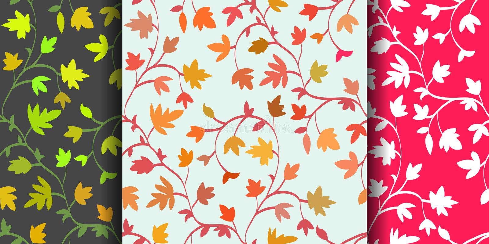 Set: 3 Seamless floral pattern with branches and leaves, abstract texture, endless background. Vector illustration stock illustration
