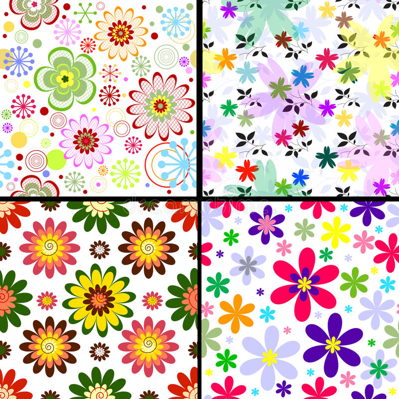 Free Set Seamless Floral Patterns Royalty Free Stock Photos - 12820388
