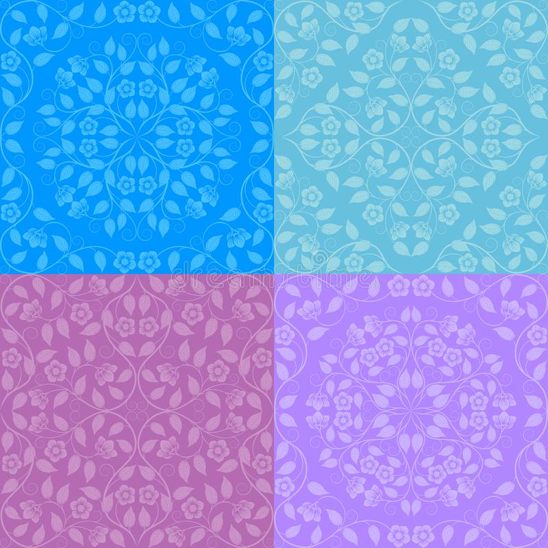 Set of seamless floral patterns stock illustration