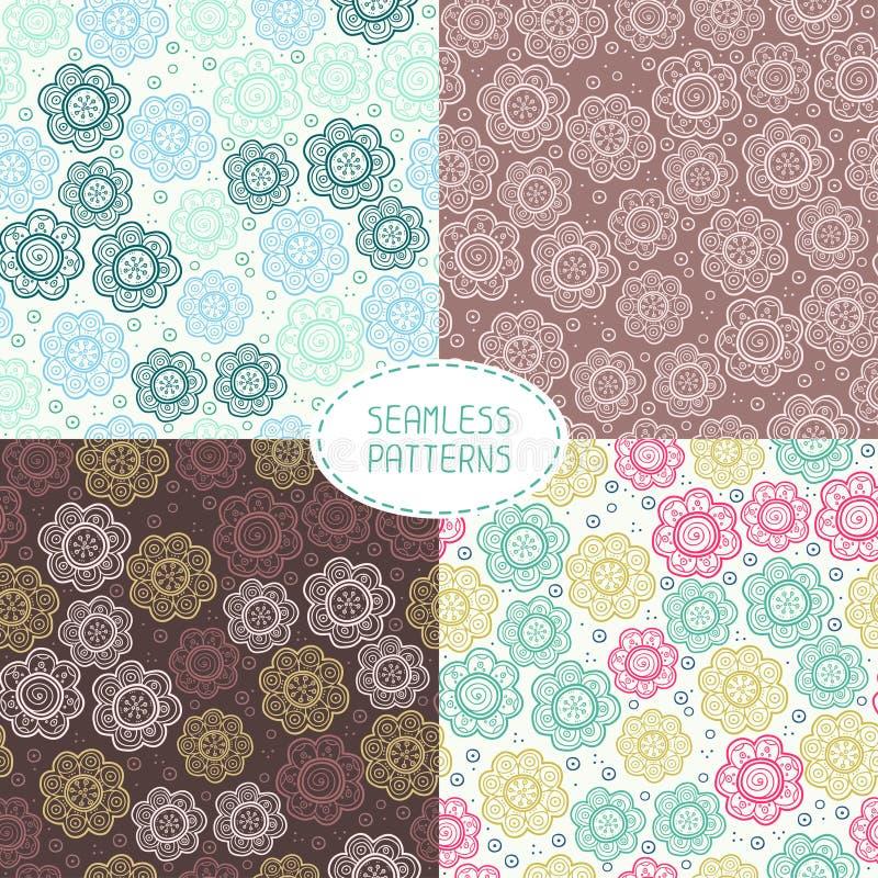 Set of seamless floral patterns. Vector stock illustration