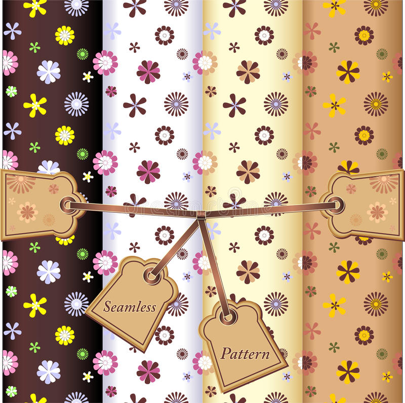 Set Seamless flowers patterns stock illustration