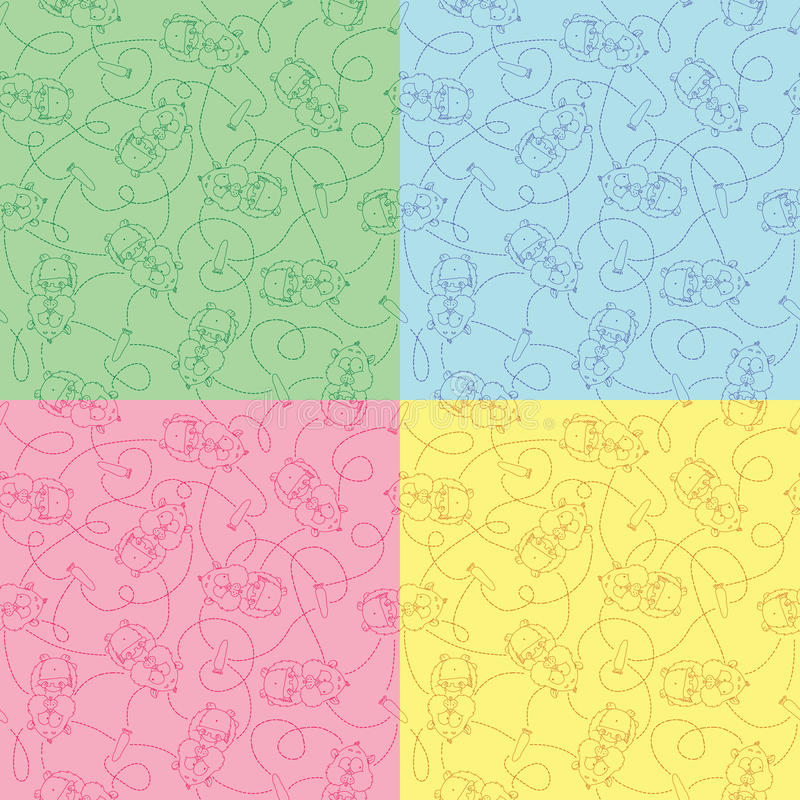 Set of seamless funny pattern