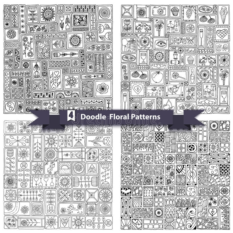 Set of seamless geometric floral doodle pattern. royalty free illustration
