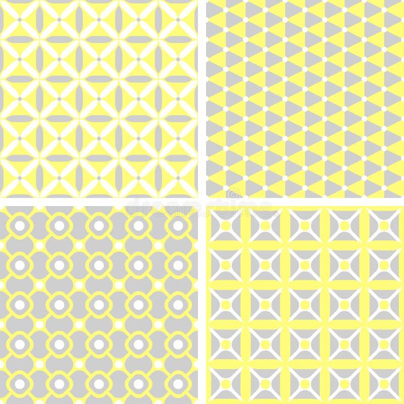Set of seamless geometric patterns stock illustration