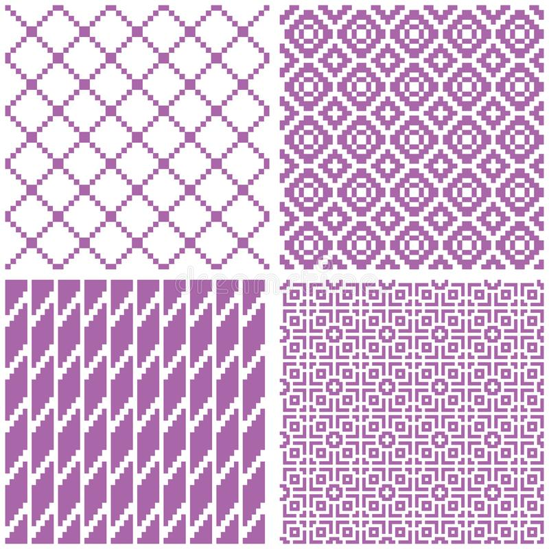 Set of 4 seamless geometric patterns stock illustration